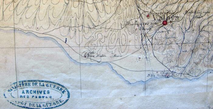 Extrait de la carte de l'expédition de Morée, avec mention de blocs antiques dans la région d'Amarynthos